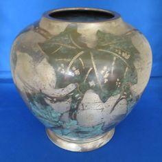 WMF German Art Deco Ikora Dinanderie Vase Decorative Leaves, Wmf, Germany, Art Deco, Vase, Shapes, Pattern, Metal, Patterns