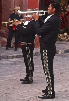 Mariachi brass, San Miguel de Allende, Mexico Charro Outfit, Wide Brimmed Hats, Spanish Colonial, Old World Charm, Folk Music, Home And Away, Vacation Spots, South America, Aztec