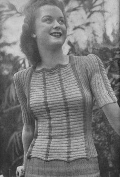 Vintage 1942 Knitting Pattern Ladies Ribbed Jersey/Jumper - digital file