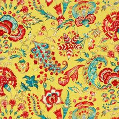 lipstick red, sky blue, dark pink, white, and green on a vibrant yellow background. This fabric is suitable for all furniture upholstery, bedding, drapery and pillows. Napperville
