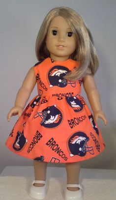 American Girl Doll Clothes Handmade 18 inch Denver Broncos Football Print Dress made for American Girl Our Generation