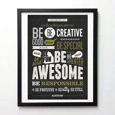 Motivational typography poster - Be kind Be greater Be awesome - Retro-style wall decor print A3