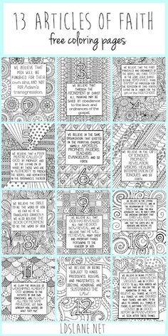 LDS Article of Faith Coloring Sheets - Jesus Quote - Christian Quote - These are amazing! LDS Article of Faith Coloring Sheets The post These are amazing! LDS Article of Faith Coloring Sheets appeared first on Gag Dad. Sunday Activities, Primary Activities, Young Women Activities, Activities For Girls, Church Activities, General Conference Activities For Kids, Primary Resources, Family Activities, Lds Primary Lessons