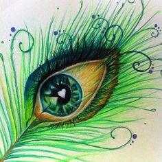 Items similar to Peacock Eye Feather - 8 Original art (unframed in a matt) on Etsy Tattoos Plume, Tattoo Feather, Colorful Drawings, Art Drawings, Eyes Artwork, Eye Sketch, Peacock Art, Mandala Drawing, Eye Art