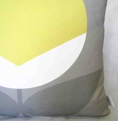 Minimalist flower yellow AGRESTO_ON_GREY cusion cover Alchemy, Minimalist, Tapestry, Yellow, Grey, Flowers, Fabric, Home Decor, Hanging Tapestry