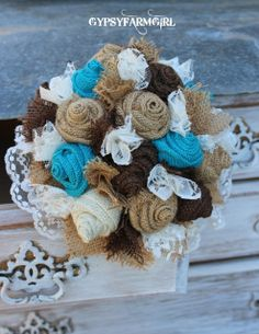 GypsyFarmGirl: Turquoise Burlap and Lace Wedding Bouquets and a New Photo Backdrop