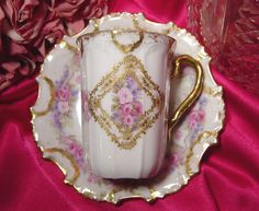 Antique Limoges Hand Painted Roses Enamel Gold Paste Chocolate Cup Saucer