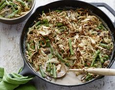 Green bean casserole is a classic Thanksgiving side. Check out this recipe for Best Ever Green Bean Casserole from Alton Brown, from Food Network. Greenbean Casserole Recipe, Casserole Recipes, Vegetarian Casserole, Cornbread Recipes, Veggie Casserole, Skillet Recipes, Chicken Casserole, Thanksgiving Side Dishes, Thanksgiving Recipes