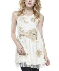 Look at this #zulilyfind! Beige Floral Embellished Layered Tunic - Women #zulilyfinds $24.99    6/6/14