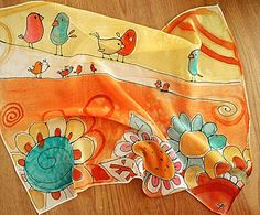 Silk scarf with cute birds and flowers . Hand by AHouseAtelier, $50.00