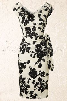 The Pretty Dress Company - Hourglass Cream and Black Rose Vintage Pencil dress