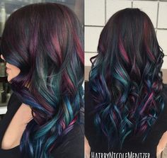 Oil slick hair color A trend that actually works on people with dark hair! Oil Slick Hair Color, Cool Hair Color, Peacock Hair Color, Galaxy Hair Color, Mermaid Hair Colors, Dark Hair With Color, Brown Hair With Purple Highlights, Purple Brown Hair, Vivid Hair Color