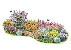Layout idea for the berm in the front yard. Butterfly Gardens- Plants and Ideas on how to attract Butterflies to your yard.