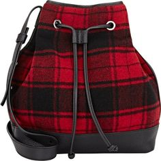 Barneys New York Bucket Bag (1.622.270 IDR) ❤ liked on Polyvore featuring bags, handbags, shoulder bags, backpack, red, red plaid purse, red plaid handbag, red handbags, drawstring bucket bag and draw string backpack