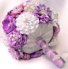 """Wedding Bouquet, brooch bouquet """"Lily"""", Mauve, Purple and White"""