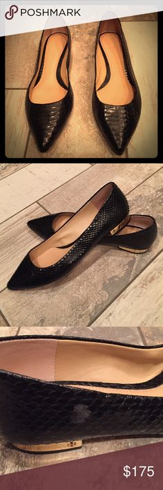 Tory burch black pointed toe flats Almost new black snake skin tory burch flats, small scratch on the right side barley visible. Tory Burch Shoes Flats & Loafers