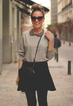 Classic black skirt outfit idea for spring 2014, grey sweater shirt and skirt