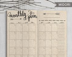 Printable Monthly Planner Inserts, Midori Monthly Spreadsheet, Printable Midori Traveler's Notebook monthly planner inserts, PDF file