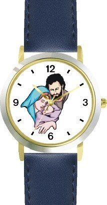 The Christ Child, Mary & Joseph Christian Theme - WATCHBUDDY® DELUXE TWO-TONE THEME WATCH - Arabic Numbers - Blue Leather Strap-Children's Size-Small ( Boy's Size & Girl's Size ) WatchBuddy. $49.95