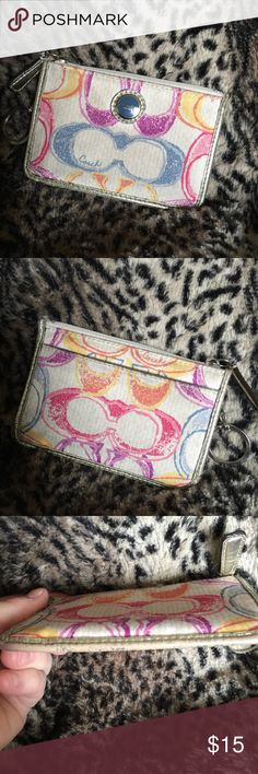 Coach small cardholder coin purse keychain Coach small card holder or coin purse with keychain. Pretty pastel color signature design print. Super cute! Pre-loved condition showing some wear as shown in pictures. Coach Bags Clutches & Wristlets