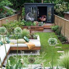 Multi-zoned garden makeover with raised beds, summerhouse and dining area ., Multi-zoned garden makeover with raised beds, summerhouse and dining area garden design Multi-zoned garden makeover with raised beds, summerhou. Back Garden Design, Backyard Garden Design, Balcony Garden, House Garden Design, Small Backyard Design, Garden Beds, Small Urban Garden Design, Backyard Office, Fence Design