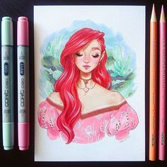 Ariel  * * * #art #drawing #sketch #ariel #disneyprincess #disney #princess #portrait #mermaid #copicmarkers #copicmultiliner #micronpen #prismacolor #prismacolorpremier #markers #markerdrawing
