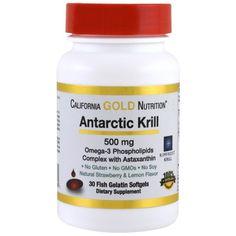 California Gold Nutrition, CGN, Antarctic Krill Oil、アスタキサンチン配合、RIMFROST、天然イチゴ・レモン味、500 mg、フィッシュゼラチンソフトジェル30粒