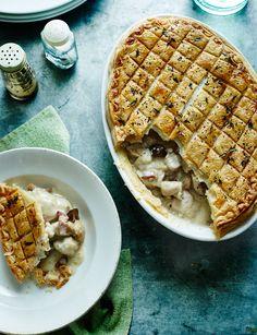 Chicken, Madeira and chestnut pie. Lighten up using filo and cream alternative (maybe natural yoghurt)