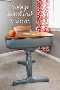 refinished+school+desk | ... was refinishing a Vintage School Desk for my sweet little Bella