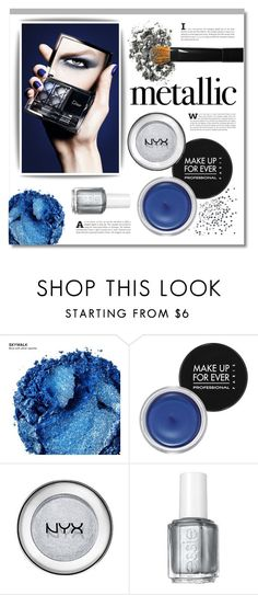 """""""Shine On: Metallic Makeup"""" by lgb321 ❤ liked on Polyvore featuring beauty, Urban Decay, MAKE UP FOR EVER, NYX, Essie, metallic and metallicmakeup"""