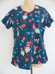 Dr Seuss Cat In The Hat Scrub Top Nurse Medical Dental Size Small  #DrSeuss