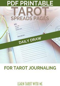 Daily Draw Tarot Spread PDF Printable Journal by LearnTarotWithMe