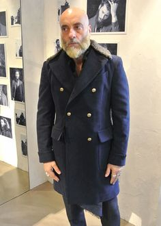 Global Round Rakuten Ichiba Shop | Rakuten Global Market: Gabriele Pasini/gabrielepasini/metal button double coat Navy real far with moleskin military Gabriel Pasini Gabriele Pasini Gabriele Pasini