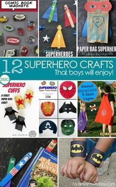 Want to get boys crafting? You have to try these super cool superhero crafts! Spiderman, Batman, The Hulk, Captain American and more! These ideas rock.