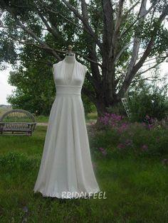 floor length ivory chiffon wedding dress simple a line halter neckline