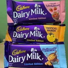 Three New Flavors of Dairy Milk . Dairy Milk Chocolate, Cadbury Dairy Milk, Selection Boxes, New Flavour, Food Presentation, Healthy Recipes, Healthy Food, Strawberry, Yummy Food