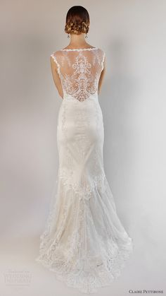 claire pettibone bridal spring 2017 illusion cap sleeves sweetheart trumpet lace wedding dress (bel air) zv illusion back romantic