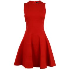 JOSEPH Heavy Jersey Aline Dress ($615) ❤ liked on Polyvore featuring dresses, vestidos, red mid, sleeveless a line dress, red a line dress, no sleeve dress, joseph dress and zipper back dress