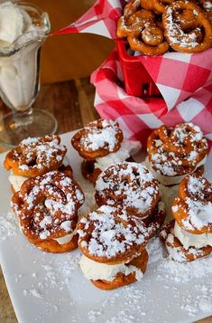 Cooking for One - Mini Funnel Cake Ice Cream Sandwiches Yummy Treats, Sweet Treats, Yummy Food, Tasty, Mini Funnel Cakes, Vanilla Bean Ice Cream, Cooking For One, Dessert Recipes, Desserts