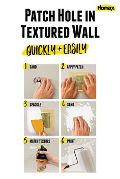 How to Patch Holes in Drywall | whether from door knobs, roughhousing kids or water damage, holes in walls and ceilings happen. Fortunately, fixing holes in drywall doesn't require a lot of skill or time. With the right supplies, it's a cinch to get your wall back to the original condition. Click to learn tips and tricks from Homax® to help make tough home improvement tasks and repairs easier.