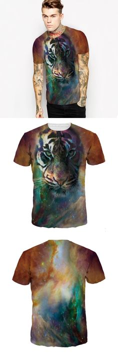 Hot Style Star Tiger 3 D Digital Printing Short Sleeve T-shirt Brand Clothing Leisure Plus Size Men's T-shirt In Summer