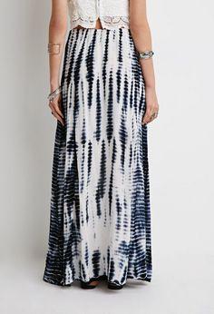 3d350a759b37 Forever 21 Tie Dye Maxi Skirt In White Lyst Tie Dye Maxi Skirt