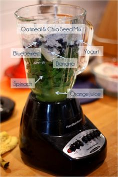 Breakfast smoothie:  2 c. packed spinach  1/2 c. blueberries  1 banana  3/4 c. orange juice (for sweetness)  3/4 c. plain yogurt  1/2 c. whole rolled oats  1 Tbsp. Chia seed