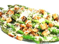 Caesar Asparagus, Low Calorie, Big on Deliciousness! I've never been so excited about a vegetable dish before but this one is worth raving about! It's just like the classic salad but made with roasted asparagus instead of lettuce. The skinny for each serving, 95 calories, 4 grams of fat and 3 Weight Watchers POINTS PLUS.
