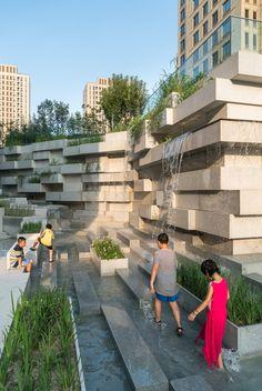 Beiqijia Technology Business District by Martha Schwartz Partners Landscape And Urbanism, Landscape Walls, Urban Landscape, Landscape Design, Landscape Steps, Urban Furniture, Street Furniture, Water Architecture, Architecture Design