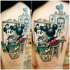 Mickey Mouse self-portrait tattoo by Mae La Roux Mickey Tattoo, Disney Tattoos, Disney Sleeve Tattoos, Mickey Mouse Tattoos, Mickey Mouse Art, Tattoos For Kids, Love Tattoos, Body Art Tattoos, Print Tattoos