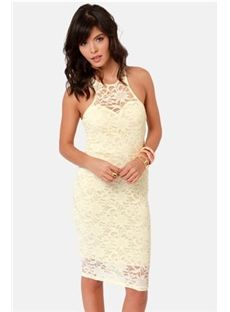 Secret Password Pale Yellow Lace Midi Dress