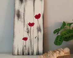 Poppy painting on reclaimed wood