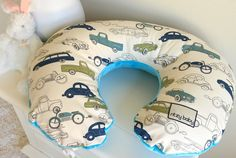 Custom Made Nursing Pillow Covers - Pick the perfect one to match your dream nursery, like maybe this adorable vintage cars print! Car Themed Nursery, Boy Nursery Cars, Vintage Car Nursery, Elephant Nursery, Baby Boy Nurseries, Nursery Themes, Nursery Ideas, Nursing Pillow Cover, Nursing Covers