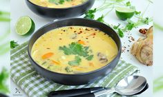 """""""The main soup base is coconut milk,"""" says Sharon Chen. """"I like to mix it with some pumpkin purée to strengthen the flavor. Since pumpkin is seasonal, you can make this soup throughout the year by using canned purée. When it's in season, simply just cook pumpkin with other vegetables."""